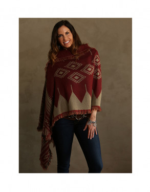 Trezo Inca Reversible Shawl with Fringe Accents in Red and Tan