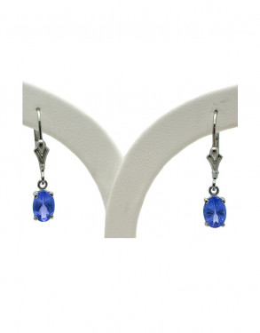 Sterling Silver Tanzanite Lever Back Earrings