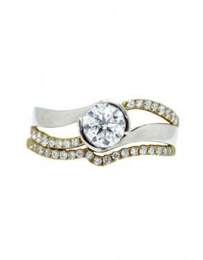 14k Yellow and White Gold Semi Bezel Diamond Bridal Set