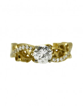 14k Yellow Gold .74 Carat Round GIA Certified Diamond Filigree Engagement Ring